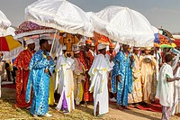 A Procession Of Orthodox Priests and Deacons During Timkat (Epiphany) Celebrations, Jinka Town, The Omo Valley, Ethiopia.