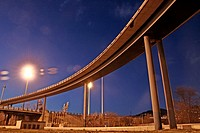 Trinitat road junction at sunset, road rounds of Barcelona, Catalonia, Spain