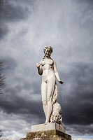 "Marble Statue """"Nymphe"""" in Tuileries Garden, Paris, France."