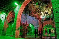 Lighted arches, Palau Reial Major, Museu Frederic Mares, Barcelona, Catalonia, Spain