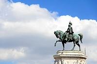 """Bronze statue of Vittorio Emanuele II at the """"""""Vittoriano"""""""" monument or Altare della Patria (Fatherland Altar) - Rome Italy."""
