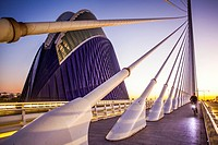 El Pont de l´Assut de l´Or and L´Agora, in City of Arts and Sciences. Valencia, Spain.