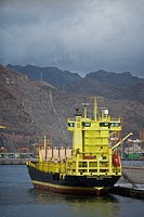Early morning at Tenerife port. Mountainous landscape in background.
