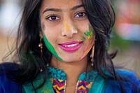 Dhaka,Bangladesh 5th March,2015.The Dol Utsav, a festival of the Hindu community, is being celebrated with colored powder in the country, at the time ...