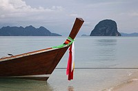 Longtail boat at Ko Ngai, a tropical island in the Andaman sea around Thailand.