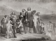 The Landing of the Pilgrim Fathers, Plymouth, Massachusetts, North America on December 21st 1620. From Bibby´s Annual published 1910.