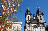 Prague, Czech Republic, historical center listed as World Heritage by UNESCO, the old town Stare Mesto, Easter decorations in Old town Square Staromes...