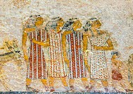 "Middle Egypt, Beni Hasan, the tomb of Khnumhotep II dates from the Middle Kingdom and contains the famous scene called """"arrival of the Hyksos"""". Colo..."