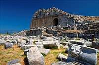 The amphitheater at Miletos showing the side entrance with vaulted door with decorated pilasters. Miletos, Anatolia, Turkey.