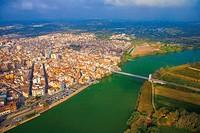 Aerial view of Amposta, Ebro River, Tarragona Province, Catalonia, Spain