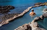 Chomon-no-yu, rotemburo or onsen, is the open air hot spring bath at Hotel Nakanoshima, Katsuura, Wakayama, Kinki, Japan.