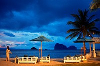 Restaurant on the beach in Anantara Si Kao Resort & Spa, south of Krabi, Thailand. Located on the soft white sands of Changlang Beach, Anantara Si Kao...