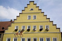 Unusual architectural building facade in the medieval town of Dinkelsbuhl, Germany.