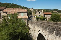 View at Le Pont and the bridge over the river Le Chassezac, close to the village Les Vans, Ardèche, Rhône-Alpes, France, Europe.