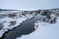 Flosagja fissure in the winter, Thingvellir National Park, Iceland.