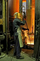 worker with hot metal.