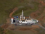 Drilling for hot water on Hellisheidi Power Plant, Iceland.