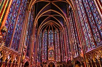 Stained Glass Cathedral Saint Chapelle Paris France. Saint King Louis 9th created Sainte Chapelle in 1248 to house Christian relics, including Christ´...
