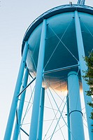 Blue water tower seen from below, Midland, Michigan, Midwest, USA.