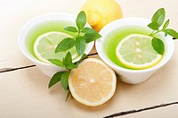 fresh and healthy mint infusion tea tisane with lemon.