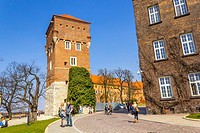 Tourists walking to the Royal Wawel Castle on the Wawel hill in Krakow, Poland, Europe.