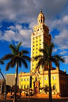 The Historic Freedom Tower Stands on the Waterfront in Miami Florida.