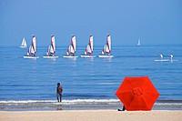 Beach scene, sailing school boats, Trouville sur Mer, 14, Normandy, France.