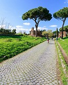 On the ancient Via Appia, the Appian Way, in Rome, Italy.