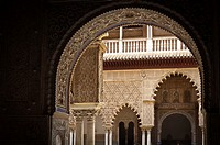 Interior view of rooms of the Alcazar palace (Seville).