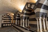 tombs in abbey San Fruttuoso, Camogli, Riviera di Levante, Liguria, Italy.