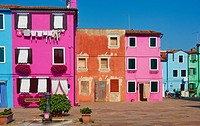 Variety of different brightly coloured houses, Burano, Venetian Lagoon, Veneto, Italy.