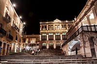 City theatre Fernando Calderón with night lighting. Zacatecas, ZAC. Mexico