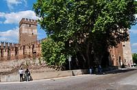 Italy, Veneto, Verona, Castelvecchio, Castle. . . .