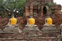 Ayutthaya Phra Nakhon Si Ayutthaya ancient capital city in Thailand, north of Bangkok. Ruins of Buddhist temples and statues of Buddha decorated with ...