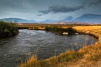 Storm clouds over Mt. Tom and the Owens River, Eastern Sierra, California.