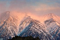 Snowstorm at sunrise over Wheeler Crest, Eastern Sierra, California.