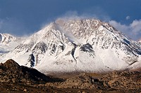 Basin Mountain after first fall snowstorm, Eastern Sierra, California.