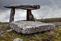Neolithic Poulnabrone Dolmen dating between 4200 BC and 2900 BC at Poulnabrone, the Burren, Co. Clare, Ireland.