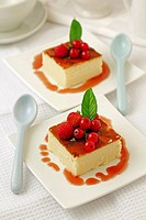 Cheese tart with red berries.