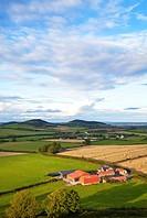 Farmland viewed from Dunamase (or Dunamace) Castle near Portlaois,. County Laois, Ireland.