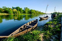 France, Indre et Loire, Chouze-sur-Loire, on the World heritage list of ´UNESCO, traditionnal boat on the Loire river, traditional boats.