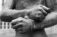 Gedenkstätte Deutscher Widerstand, Memorial to the German Resistance, young man with his hands bound by Richard Scheibe 1953, Bendlerblock, Berlin, Ge...