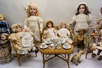 Room of the Old Dolls, León López collection, modernist museum of Can Prunera, Soller, Serra de Tramuntana, Majorca, Balearic islands, Spain
