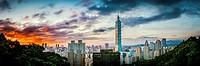 Taipei,Taiwan - Panorama of Taipei City and 101 Tower at sunset from Elephant Mountain.