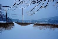 Landscape, winter, snow, road