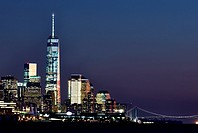 New York City, Manhattan, Skyline, Night, Freedom Tower