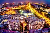 Taiyuan, Shanxi province, China - Panorama view of Taiyuan city in fisheye view.