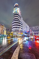 Callao square and Gran Via street at twilight. Madrid, Spain.