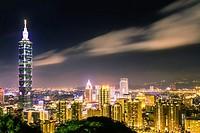 Taipei, Taiwan - Night view of Taipei City and 101 Tower from Elephant mountain.