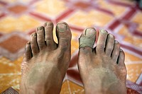 Dusty feet after a day´s trekking. Trekking in Markha valley Laddakh, India.